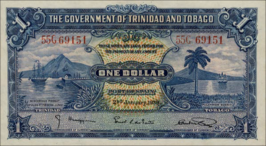 Colonial Government of Trinidad and Tobago $1 note